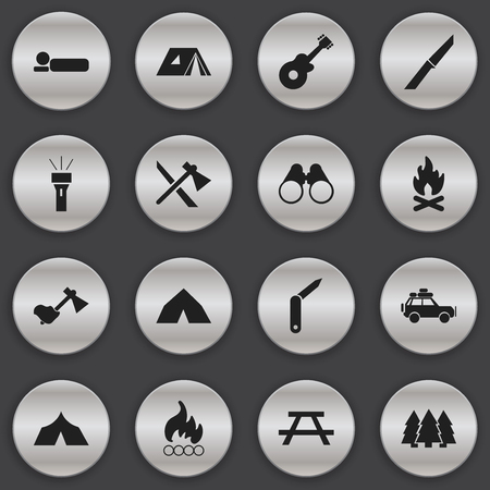 refuge: Set Of 16 Editable Travel Icons. Includes Symbols Such As Ax, Tomahawk, Fever And More. Can Be Used For Web, Mobile, UI And Infographic Design. Illustration
