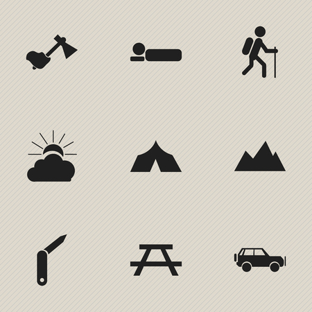 pinnacle: Set Of 9 Editable Travel Icons. Includes Symbols Such As Sunrise, Peak, Gait And More. Can Be Used For Web, Mobile, UI And Infographic Design.