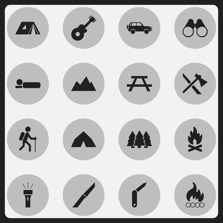 tabernacle: Set Of 16 Editable Travel Icons. Includes Symbols Such As Peak, Clasp-Knife, Desk And More. Can Be Used For Web, Mobile, UI And Infographic Design.