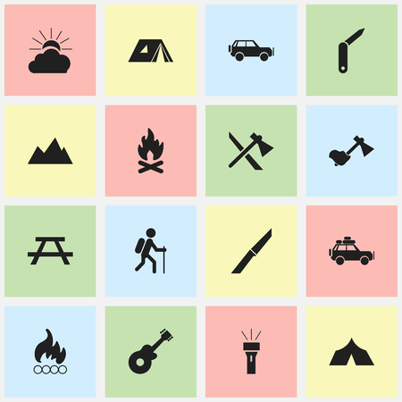 pinnacle: Set Of 16 Editable Trip Icons. Includes Symbols Such As Blaze, Fever, Sport Vehicle And More. Can Be Used For Web, Mobile, UI And Infographic Design. Illustration