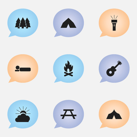 tabernacle: Set Of 9 Editable Trip Icons. Includes Symbols Such As Tepee, Desk, Sunrise And More. Can Be Used For Web, Mobile, UI And Infographic Design.