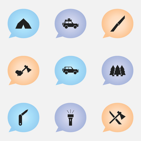 tomahawk: Set Of 9 Editable Trip Icons. Includes Symbols Such As Pine, Tomahawk, Knife And More. Can Be Used For Web, Mobile, UI And Infographic Design. Illustration