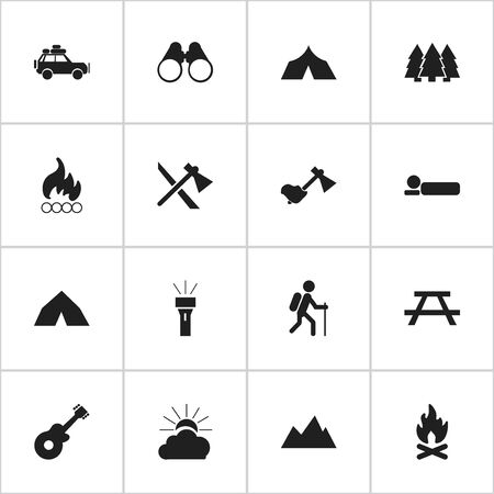 electric torch: Set Of 16 Editable Camping Icons. Includes Symbols Such As Desk, Tepee, Gait And More. Can Be Used For Web, Mobile, UI And Infographic Design. Illustration