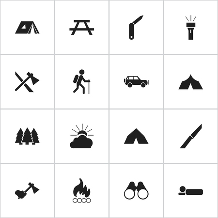 refuge: Set Of 16 Editable Travel Icons. Includes Symbols Such As Refuge, Pine, Sport Vehicle And More. Can Be Used For Web, Mobile, UI And Infographic Design.