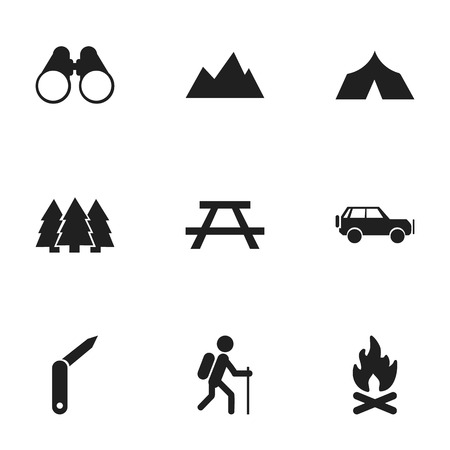refuge: Set Of 9 Editable Travel Icons. Includes Symbols Such As Field Glasses, Sport Vehicle, Peak And More. Can Be Used For Web, Mobile, UI And Infographic Design. Illustration