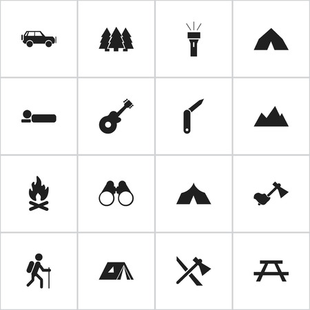 tabernacle: Set Of 16 Editable Travel Icons. Includes Symbols Such As Clasp-Knife, Desk, Bedroll And More. Can Be Used For Web, Mobile, UI And Infographic Design. Illustration