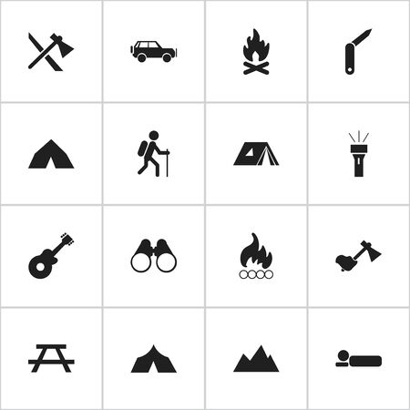 tabernacle: Set Of 16 Editable Trip Icons. Includes Symbols Such As Tomahawk, Refuge, Fever And More. Can Be Used For Web, Mobile, UI And Infographic Design.