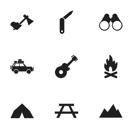 tabernacle: Set Of 9 Editable Trip Icons. Includes Symbols Such As Tepee, Field Glasses, Musical Instrument And More. Can Be Used For Web, Mobile, UI And Infographic Design.