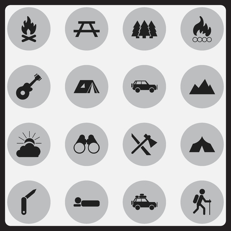Set Of 16 Editable Travel Icons. Includes Symbols Such As Blaze, Peak, Clasp-Knife And More. Can Be Used For Web, Mobile, UI And Infographic Design. Illustration