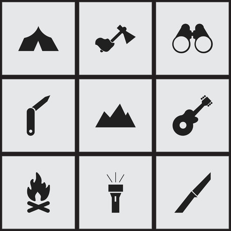 tabernacle: Set Of 9 Editable Camping Icons. Includes Symbols Such As Fever, Peak, Clasp-Knife And More. Can Be Used For Web, Mobile, UI And Infographic Design. Illustration