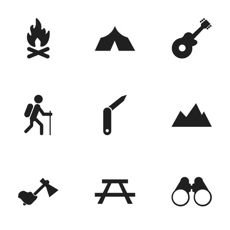 pinnacle: Set Of 9 Editable Trip Icons. Includes Symbols Such As Desk, Clasp-Knife, Musical Instrument And More. Can Be Used For Web, Mobile, UI And Infographic Design.
