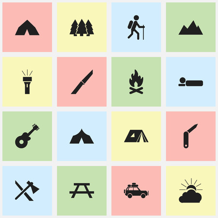 refuge: Set Of 16 Editable Travel Icons. Includes Symbols Such As Tepee, Refuge, Sunrise And More. Can Be Used For Web, Mobile, UI And Infographic Design.
