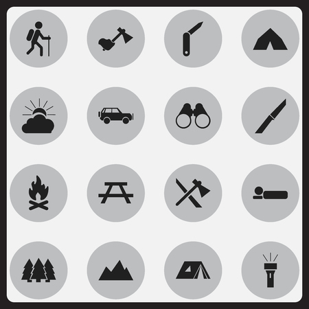 tabernacle: Set Of 16 Editable Trip Icons. Includes Symbols Such As Knife, Shelter, Desk And More. Can Be Used For Web, Mobile, UI And Infographic Design.