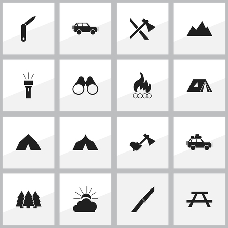 refuge: Set Of 16 Editable Travel Icons. Includes Symbols Such As Field Glasses, Desk, Clasp-Knife And More. Can Be Used For Web, Mobile, UI And Infographic Design.