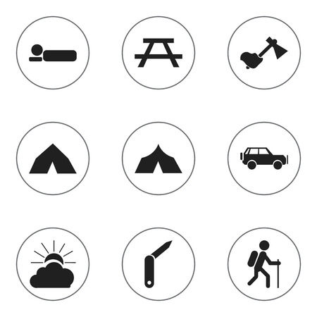 gait: Set Of 9 Editable Trip Icons. Includes Symbols Such As Gait, Sunrise, Desk And More. Can Be Used For Web, Mobile, UI And Infographic Design. Illustration