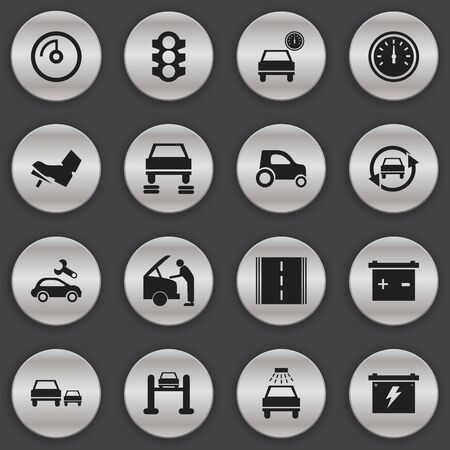 overtake: Set Of 16 Editable Transport Icons. Includes Symbols Such As Automotive Fix, Stoplight, Highway And More. Can Be Used For Web, Mobile, UI And Infographic Design.