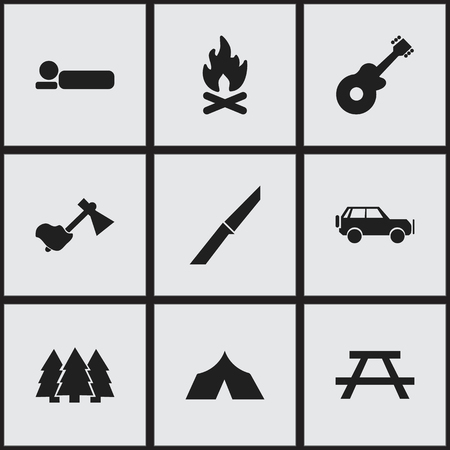 tabernacle: Set Of 9 Editable Camping Icons. Includes Symbols Such As Bedroll, Knife, Desk And More. Can Be Used For Web, Mobile, UI And Infographic Design. Illustration