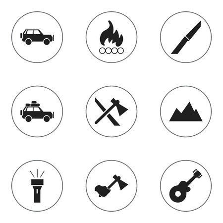 rocky road: Set Of 9 Editable Camping Icons. Includes Symbols Such As Knife, Lantern, Sport Vehicle And More. Can Be Used For Web, Mobile, UI And Infographic Design.