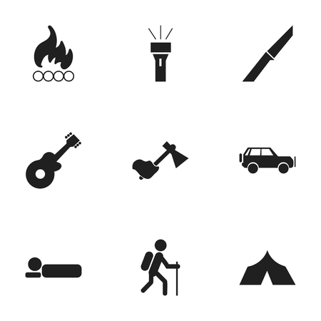 gait: Set Of 9 Editable Travel Icons. Includes Symbols Such As Lantern, Knife, Gait And More. Can Be Used For Web, Mobile, UI And Infographic Design.