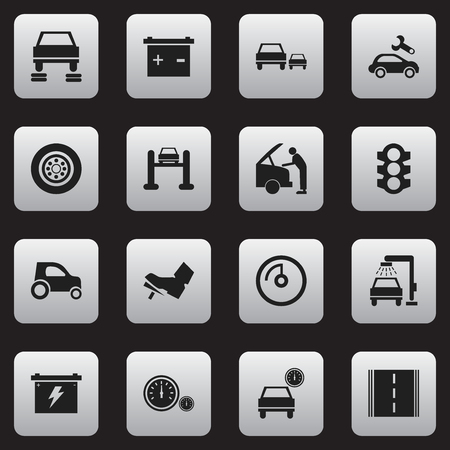 treadle: Set Of 16 Editable Car Icons. Includes Symbols Such As Highway, Treadle, Speed Display And More. Can Be Used For Web, Mobile, UI And Infographic Design.