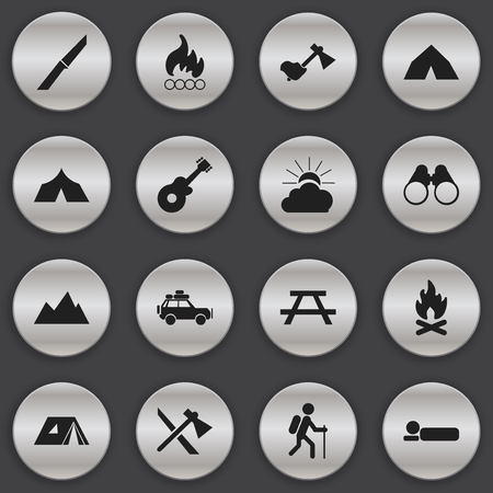 woodpile: Set Of 16 Editable Trip Icons. Includes Symbols Such As Ax, Desk, Gait And More. Can Be Used For Web, Mobile, UI And Infographic Design. Illustration