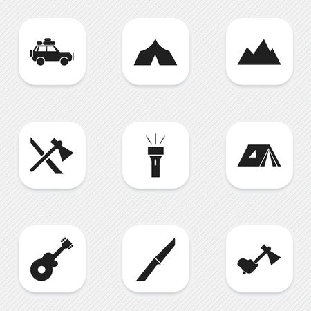 refuge: Set Of 9 Editable Trip Icons. Includes Symbols Such As Musical Instrument, Refuge, Ax And More. Can Be Used For Web, Mobile, UI And Infographic Design. Illustration