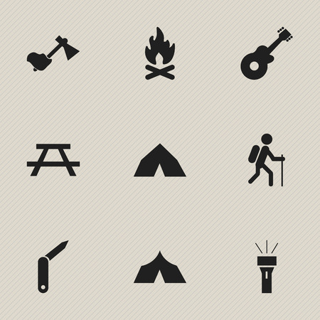 refuge: Set Of 9 Editable Camping Icons. Includes Symbols Such As Ax, Gait, Desk And More. Can Be Used For Web, Mobile, UI And Infographic Design.