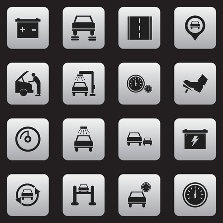 treadle: Set Of 16 Editable Traffic Icons. Includes Symbols Such As Treadle, Highway, Pointer And More. Can Be Used For Web, Mobile, UI And Infographic Design.