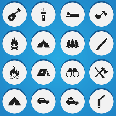 refuge: Set Of 16 Editable Camping Icons. Includes Symbols Such As Tomahawk, Sport Vehicle, Field Glasses And More. Can Be Used For Web, Mobile, UI And Infographic Design.