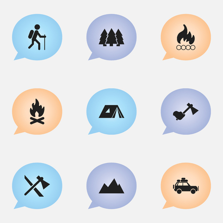tabernacle: Set Of 9 Editable Trip Icons. Includes Symbols Such As Ax, Tomahawk, Gait And More. Can Be Used For Web, Mobile, UI And Infographic Design.