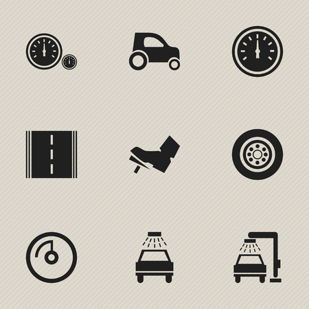 part time: Set Of 9 Editable Car Icons. Includes Symbols Such As Tire, Treadle, Highway And More. Can Be Used For Web, Mobile, UI And Infographic Design.