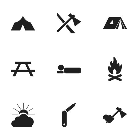 tabernacle: Set Of 9 Editable Trip Icons. Includes Symbols Such As Refuge, Shelter, Fever And More. Can Be Used For Web, Mobile, UI And Infographic Design.