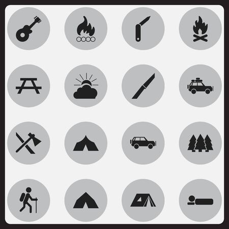 gait: Set Of 16 Editable Camping Icons. Includes Symbols Such As Gait, Blaze, Knife And More. Can Be Used For Web, Mobile, UI And Infographic Design.