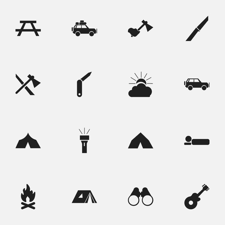 tabernacle: Set Of 16 Editable Travel Icons. Includes Symbols Such As Tomahawk, Voyage Car, Knife And More. Can Be Used For Web, Mobile, UI And Infographic Design.