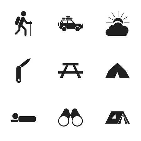 tabernacle: Set Of 9 Editable Trip Icons. Includes Symbols Such As Shelter, Clasp-Knife, Sunrise And More. Can Be Used For Web, Mobile, UI And Infographic Design.