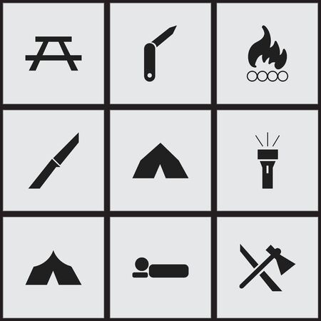 refuge: Set Of 9 Editable Camping Icons. Includes Symbols Such As Desk, Clasp-Knife, Lantern And More. Can Be Used For Web, Mobile, UI And Infographic Design.
