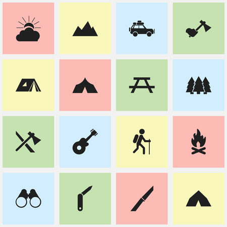 settle: Set Of 16 Editable Trip Icons. Includes Symbols Such As Peak, Fever, Ax And More. Can Be Used For Web, Mobile, UI And Infographic Design. Illustration