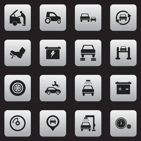 treadle: Set Of 16 Editable Car Icons. Includes Symbols Such As Tire, Race, Treadle And More. Can Be Used For Web, Mobile, UI And Infographic Design. Illustration