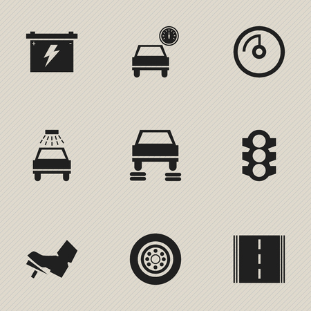 treadle: Set Of 9 Editable Car Icons. Includes Symbols Such As Stoplight, Treadle, Auto Repair And More. Can Be Used For Web, Mobile, UI And Infographic Design.