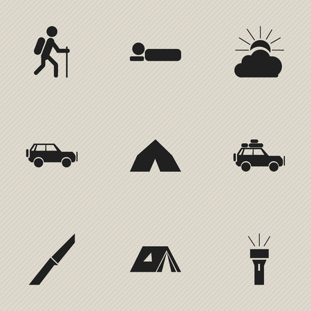 tabernacle: Set Of 9 Editable Camping Icons. Includes Symbols Such As Lantern, Sunrise, Voyage Car And More. Can Be Used For Web, Mobile, UI And Infographic Design.