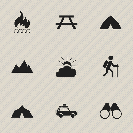 woodpile: Set Of 9 Editable Trip Icons. Includes Symbols Such As Tepee, Sunrise, Voyage Car And More. Can Be Used For Web, Mobile, UI And Infographic Design.
