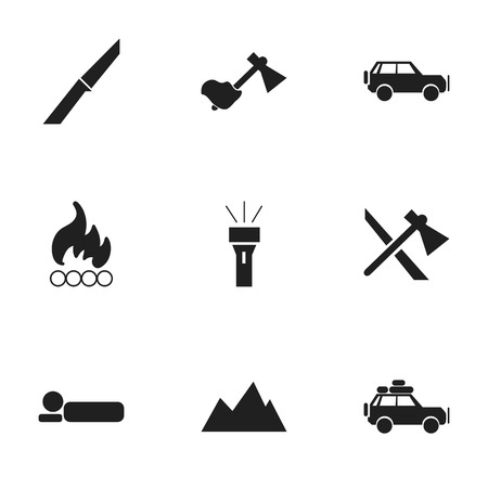 pinnacle: Set Of 9 Editable Camping Icons. Includes Symbols Such As Blaze, Voyage Car, Ax And More. Can Be Used For Web, Mobile, UI And Infographic Design.