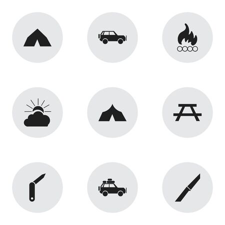 tabernacle: Set Of 9 Editable Camping Icons. Includes Symbols Such As Clasp-Knife, Voyage Car, Sport Vehicle And More. Can Be Used For Web, Mobile, UI And Infographic Design.
