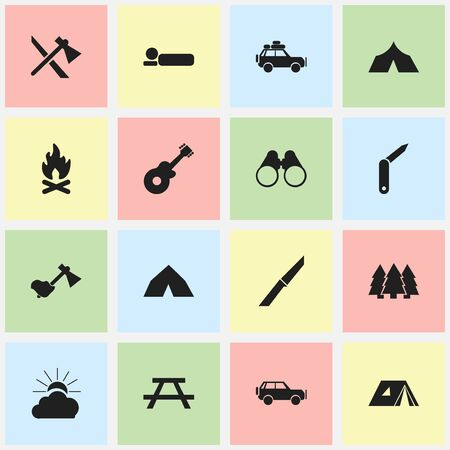 Set Of 16 Editable Camping Icons. Includes Symbols Such As Tepee, Clasp-Knife, Bedroll And More. Can Be Used For Web, Mobile, UI And Infographic Design. Illustration