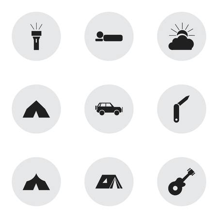 refuge: Set Of 9 Editable Camping Icons. Includes Symbols Such As Bedroll, Tepee, Refuge And More. Can Be Used For Web, Mobile, UI And Infographic Design.