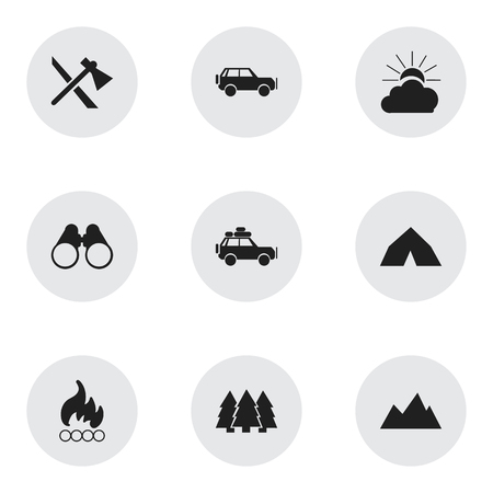 tabernacle: Set Of 9 Editable Travel Icons. Includes Symbols Such As Tepee, Tomahawk, Voyage Car And More. Can Be Used For Web, Mobile, UI And Infographic Design.
