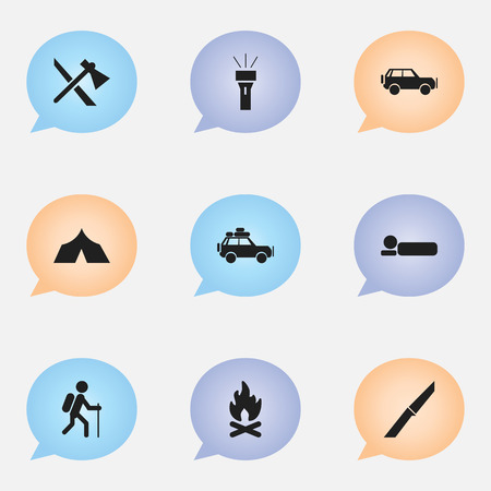 refuge: Set Of 9 Editable Travel Icons. Includes Symbols Such As Sport Vehicle, Voyage Car, Refuge And More. Can Be Used For Web, Mobile, UI And Infographic Design.