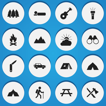 tube top: Set Of 16 Editable Camping Icons. Includes Symbols Such As Tomahawk, Clasp-Knife, Bedroll And More. Can Be Used For Web, Mobile, UI And Infographic Design.