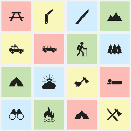 gait: Set Of 16 Editable Trip Icons. Includes Symbols Such As Gait, Peak, Sport Vehicle And More. Can Be Used For Web, Mobile, UI And Infographic Design.