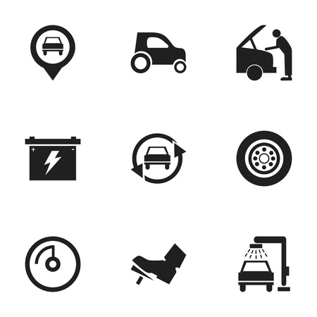 treadle: Set Of 9 Editable Transport Icons. Includes Symbols Such As Treadle, Speed Display, Pointer And More. Can Be Used For Web, Mobile, UI And Infographic Design. Illustration